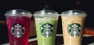 Image of a few trademark Starbucks drinks